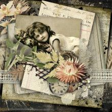 Charming heritage digi page with layered vintage letters background and lace border. Created with kits from Studio Manu.