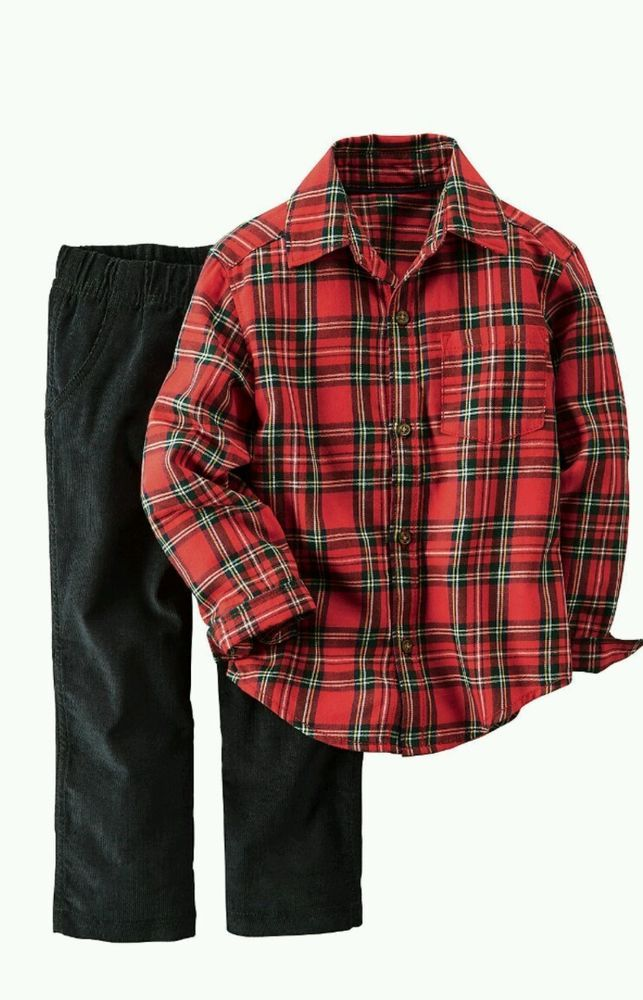 078ad5a92 Carters Baby Toddler Boys Plaid Button Down Flannel Shirt & Pant Set Long  Sleeve #Carters #CasualFormal
