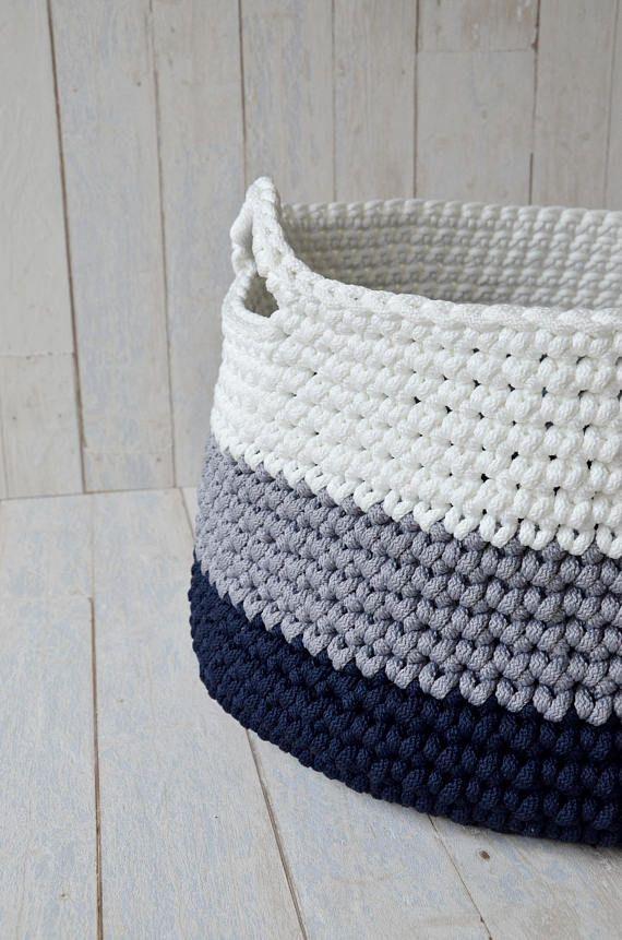 Cubby storage ideas - Household storage - Large crochet basket ...