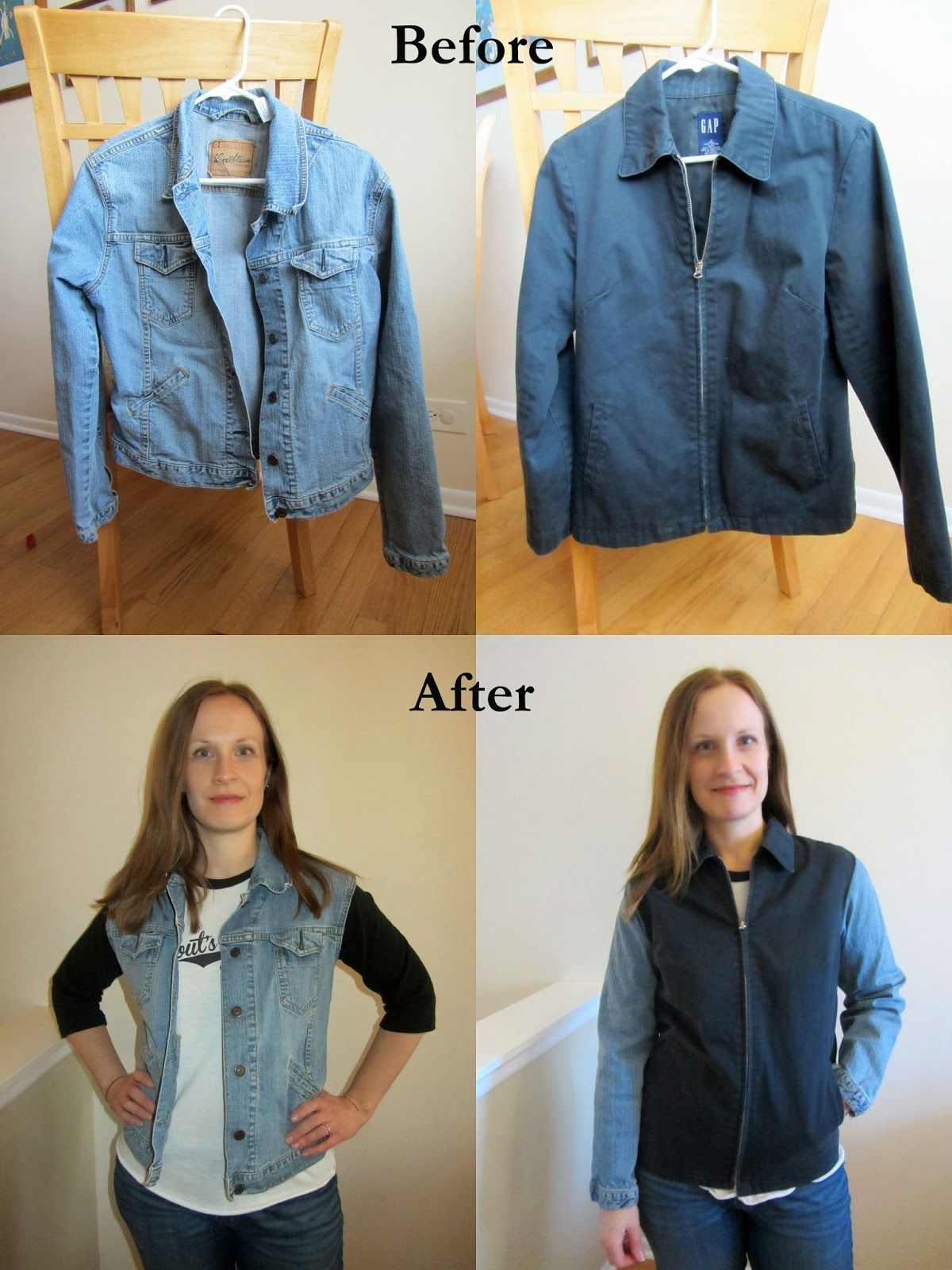 Kostuumvest Op Jeans.Two Jackets To A Denim Layering Vest And A Contrast Sleeve