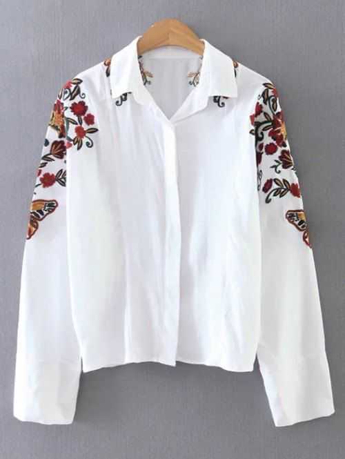 fc40cae4 Cropped Flower Embroidered Shirt - WHITE M | WOMENS SHIRT | Shirts ...
