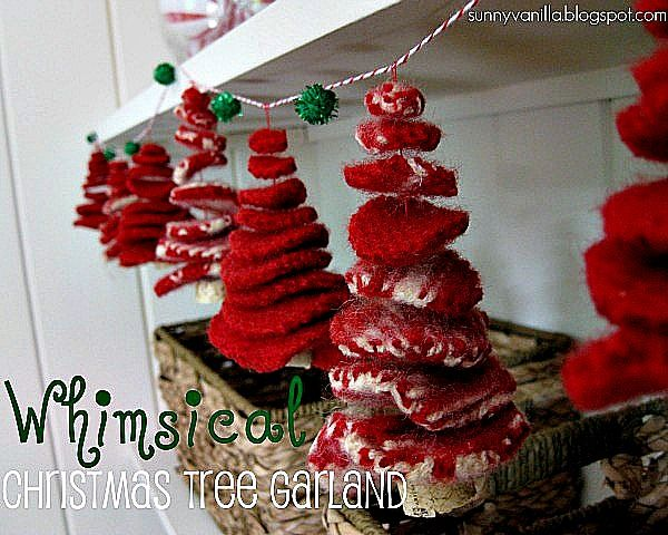 whimsical tree garland from recycled sweater