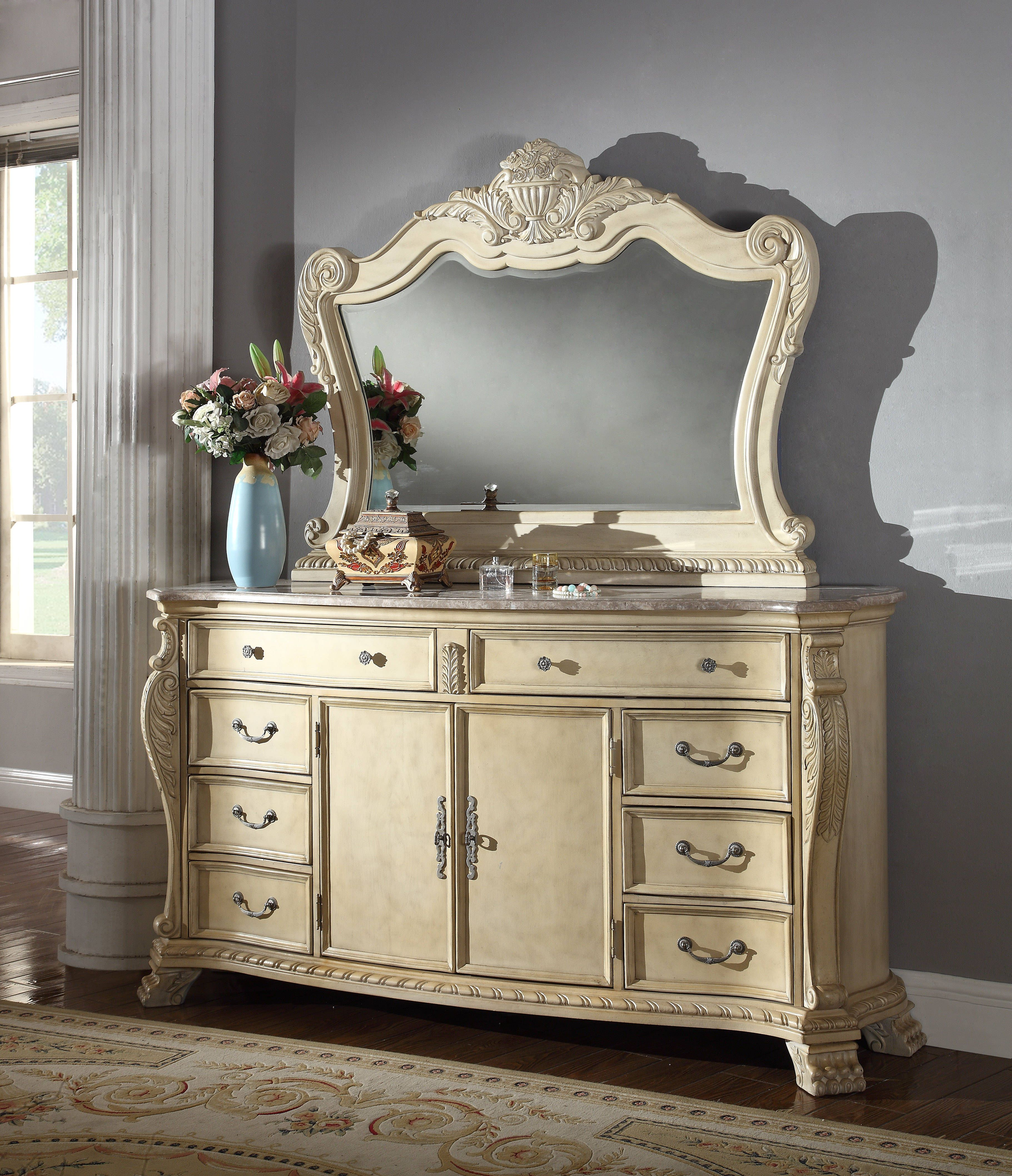 Monaco Traditional Antique White Marble Top Dresser and