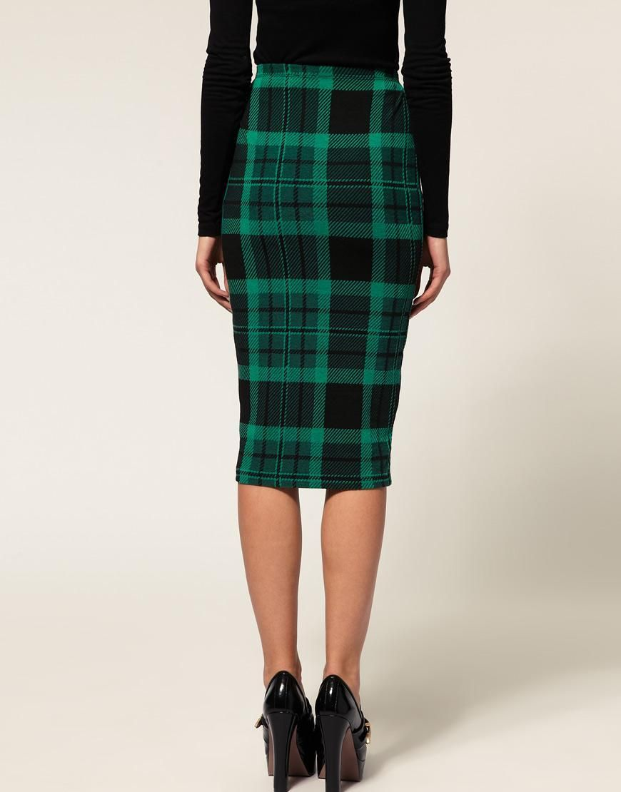 8793a2a3bd9841 ASOS Pencil Skirt in Green | My Style | Fashion, Tartan fashion ...