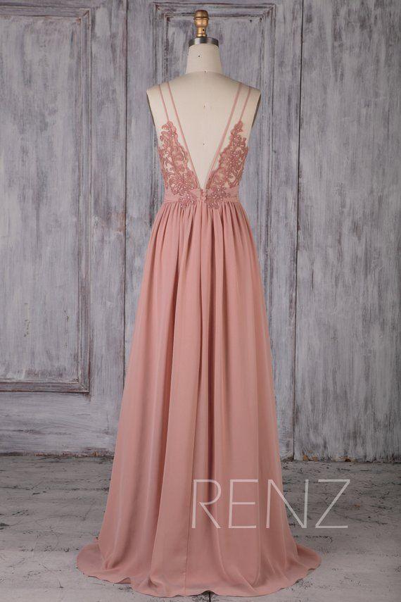 Bridesmaid Dress Dusty Rose Long Chiffon Boho Wedding Dress Spaghetti Strap Prom Dress Ruched V Neck Open Back A-line Prom Dress (H549B)