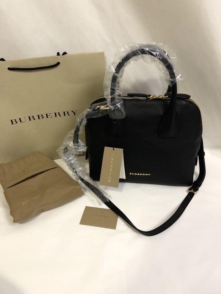 0774cb4d45 NWT Burberry London Grainy Leather Small Greenwood Bowling Satchel Bag ,  Black