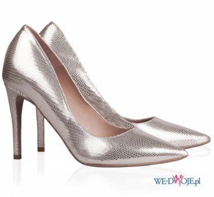 Srebrne Buty Slubne Pura Lopez Polkipl Buty Slub Wesele Evening Shoes Pointed Toe Pumps Ankle Strap Sandals