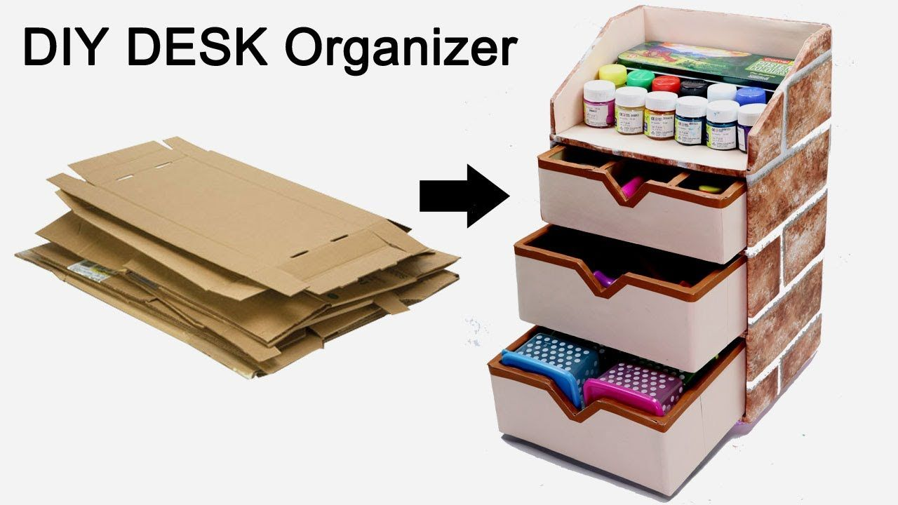 How To Make A Stationary Diy Desk Organizer Using Cardboard By Crafti Diy Stationary Desk Organization Diy Diy Cardboard