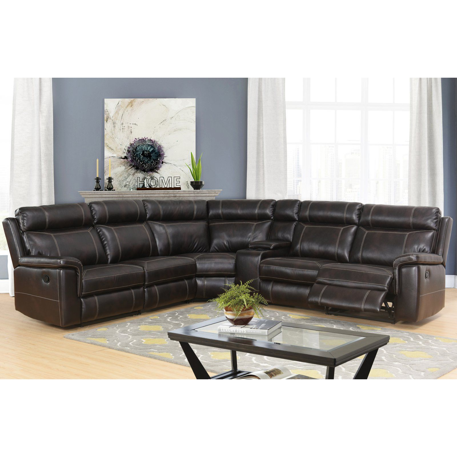 Best Abbyson Living Hannah Reclining Sectional With Console In 400 x 300
