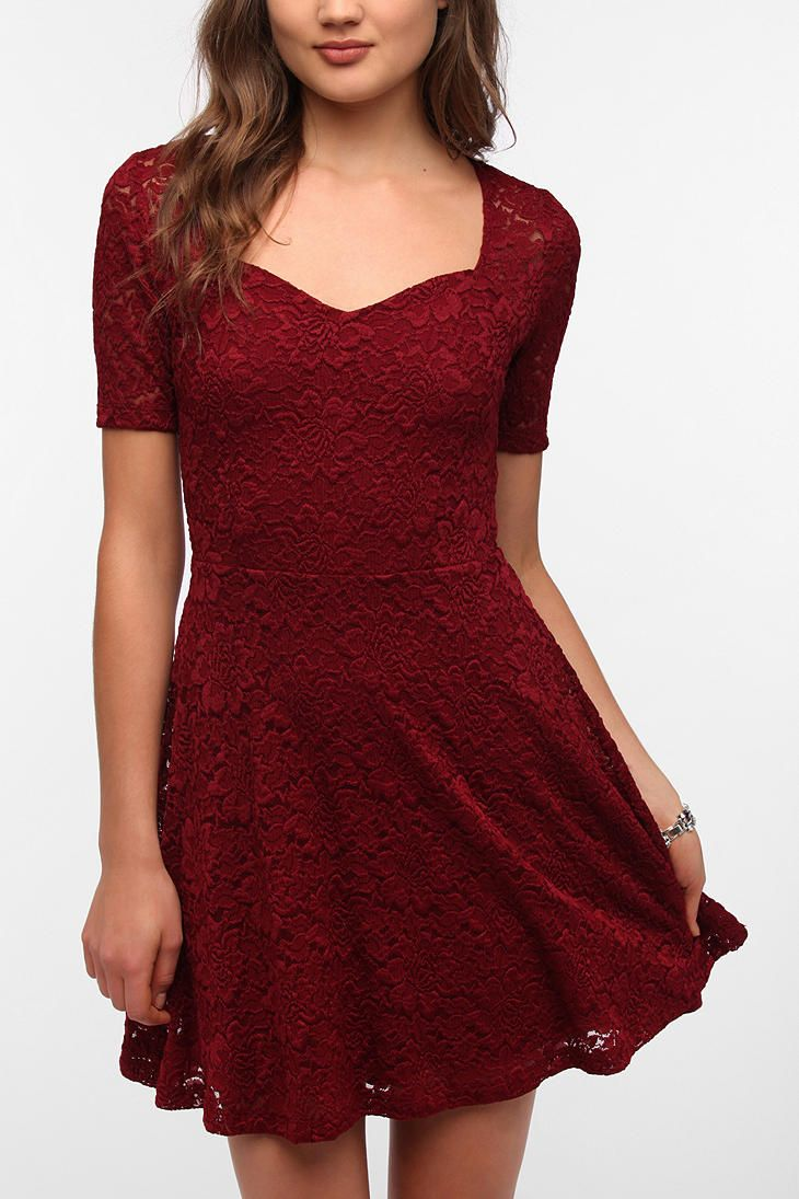 Pins and Needles Sweetheart Lace Dress  #UrbanOutfitters I have this in pink...