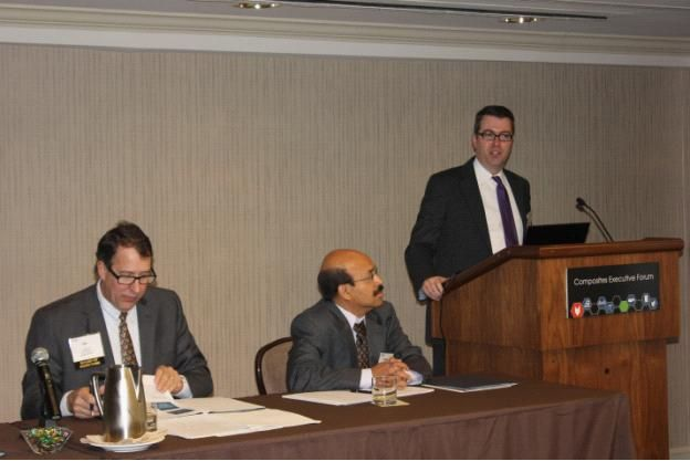 From Left Jay Merrell, ACMA Chairman, Dr. Sanjay Mazumdar, CEO, Lucintel and Dr. Chad Moutray - Chief Economist, National Association of Manufacturers on April 1, 2014 at Composites Executive Forum, ACMA, Washington DC on April 1, 2014.