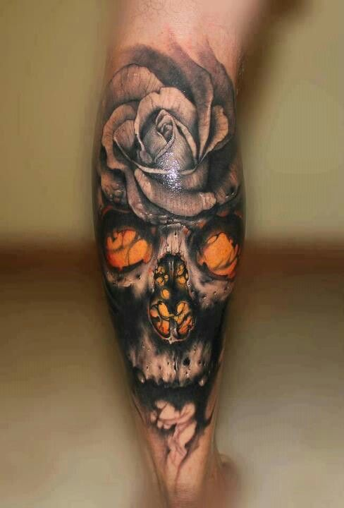 cbb32b3dc6b58 Tattoo by Riccardo Cassese. Skull and flower tattoo. Awesome detail ...