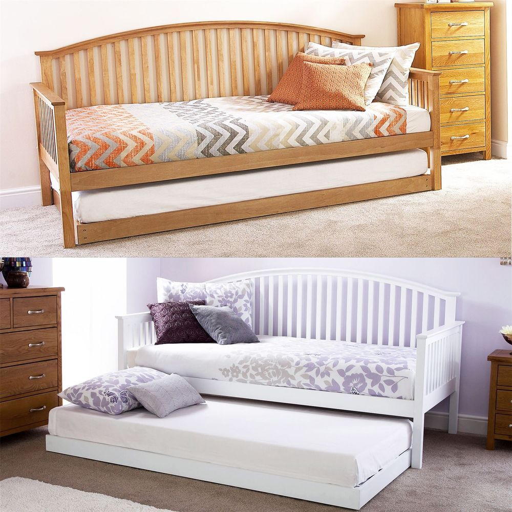 Best Madrid Wooden 3Ft Single Day Bed Frame Trundle Guest 640 x 480