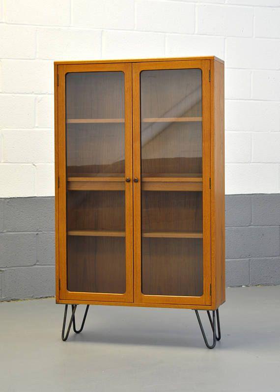 Mid Century Bookcase G Plan Fresco Furniture Retro Vintage Retro Bookcases Glass Cabinet Doors Mid Century Bookcase