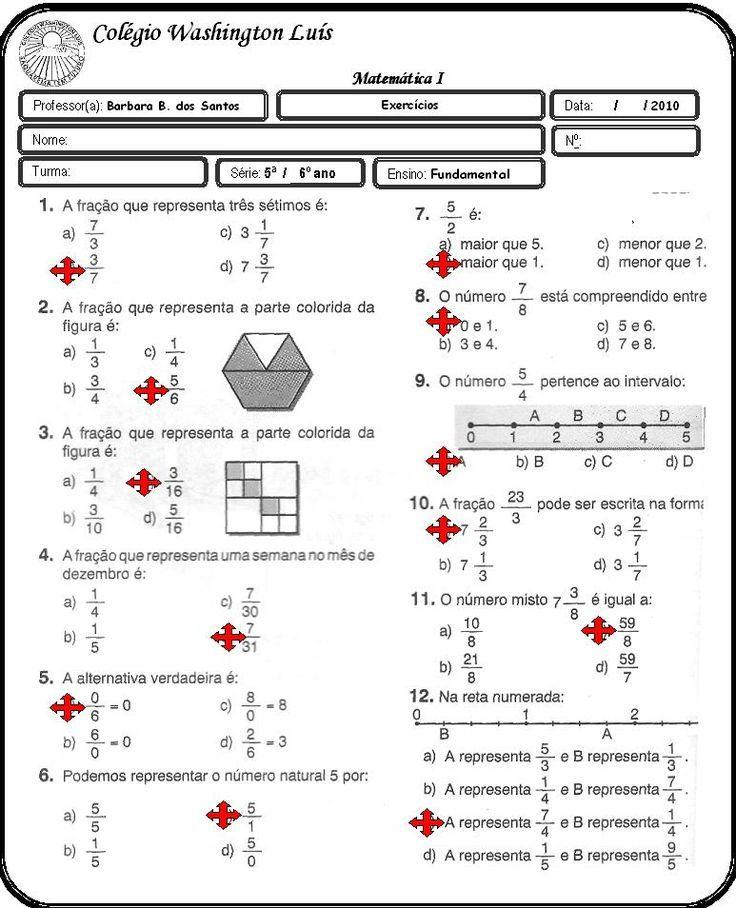 Resultado De Imagem Para Trabalho De Matematica Com Fracoes Para O