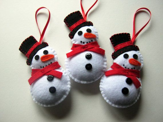 Felt Christmas Ornaments Snowman Made To Order 5 By Dusicrafts