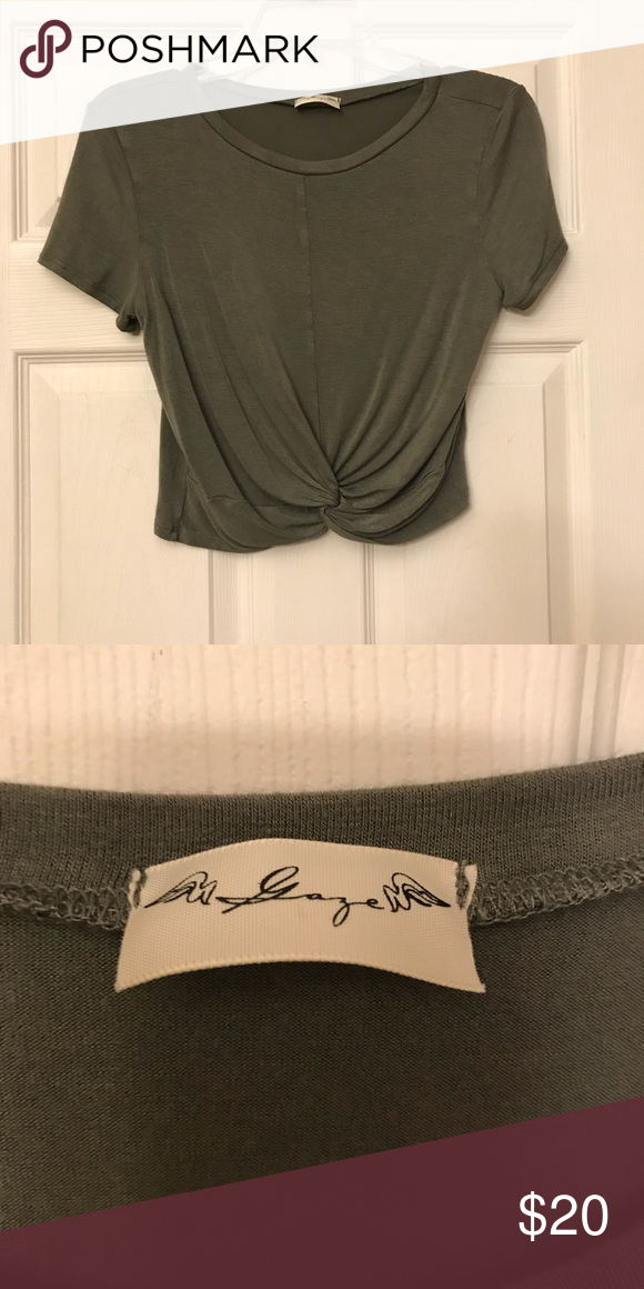 6558402f8a3 army green twist crop top super cute with jeans or high waisted shorts also  have this same shirt listed in a red/grey! Tops Crop Tops