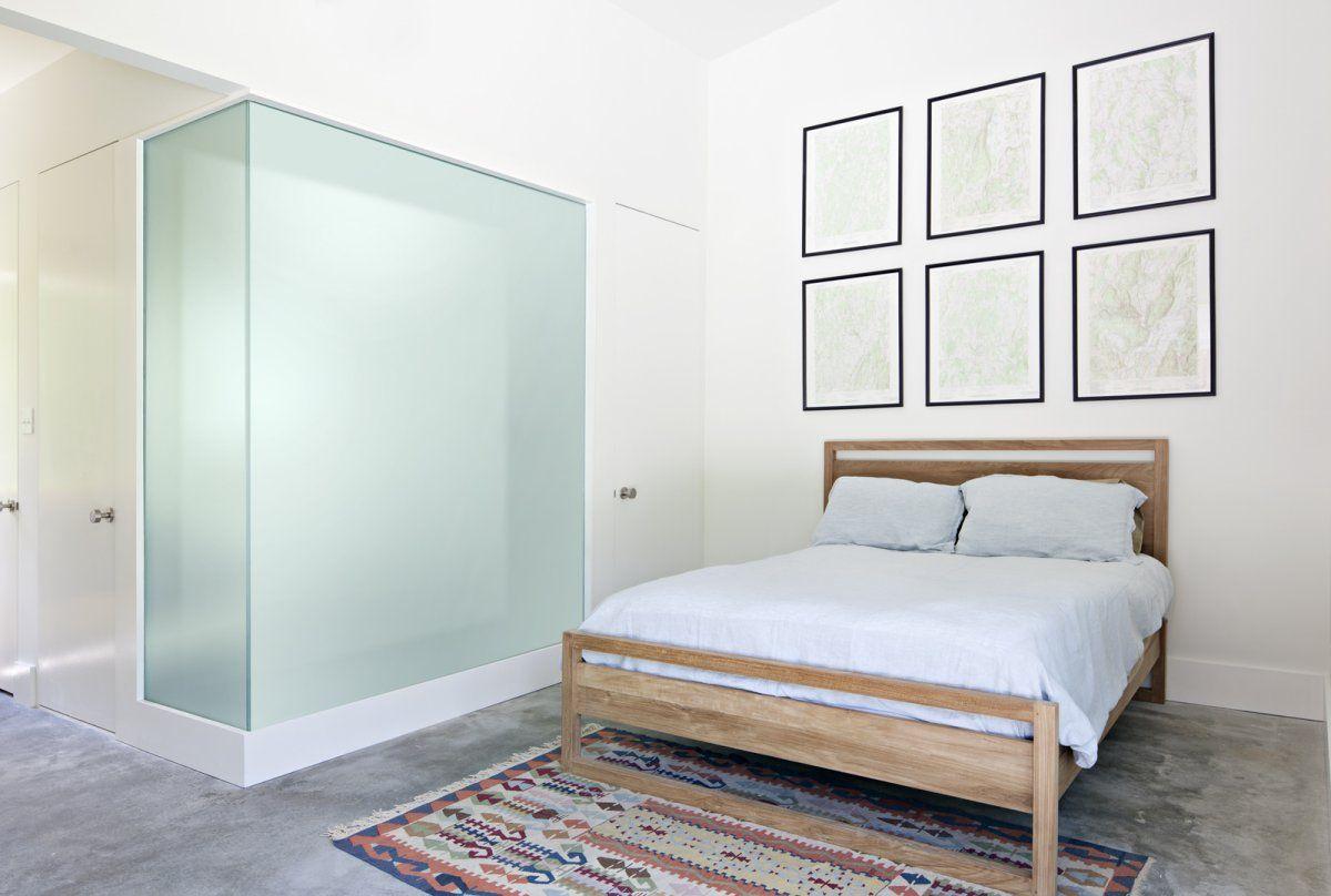 Master bedroom ensuite  integrating bathroom into bedroom with glass corners  HOTEL