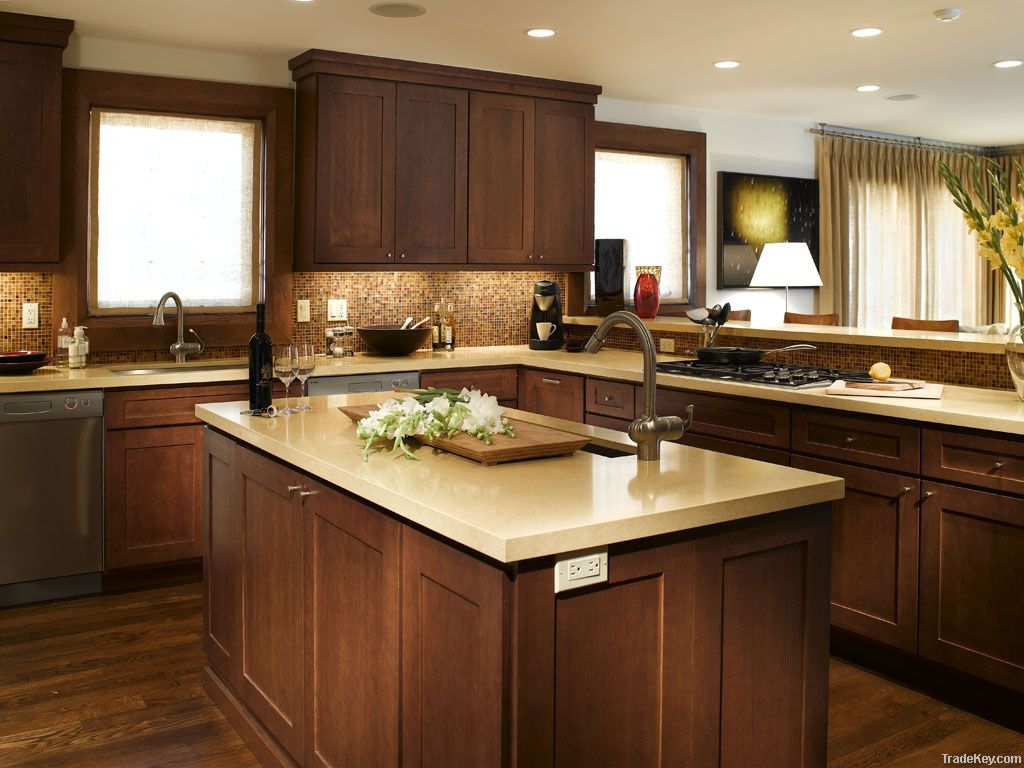 Elegant white shaker kitchen cabinets with dark wood for Wooden kitchen cupboards