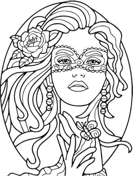 Masked Beauty Coloring Page