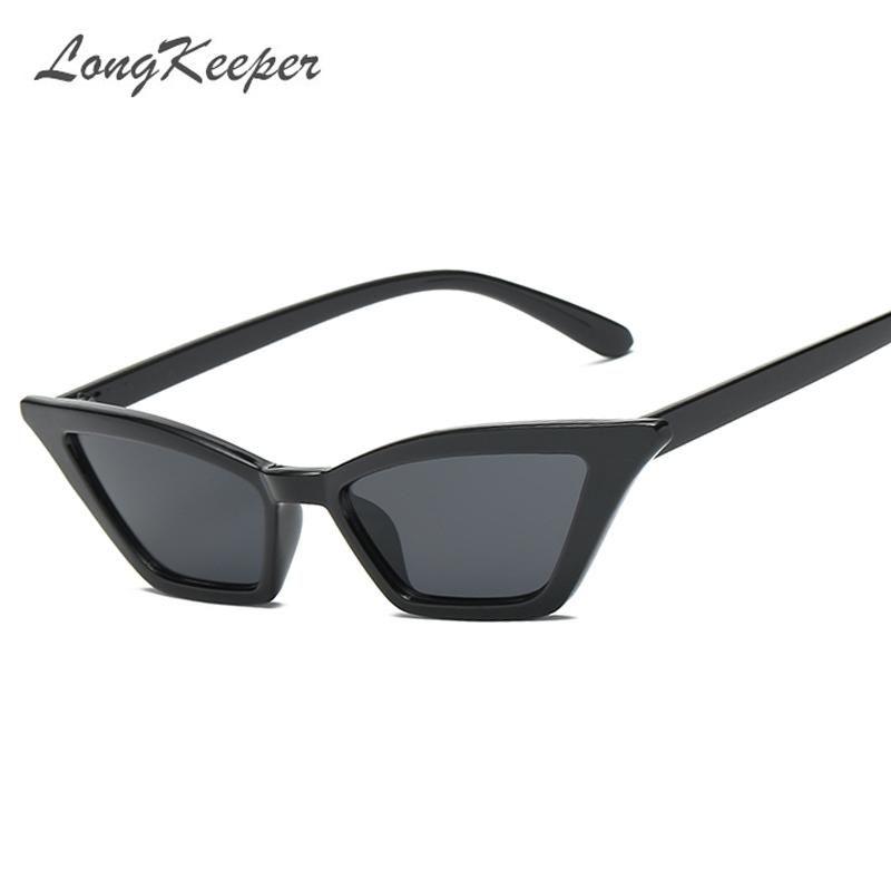 4097e395df29 LongKeeper Small Cat Eye Sunglasses Women Vintage Unique Design Rectangle  for Men Fashion Small Frame Retro Sunglass