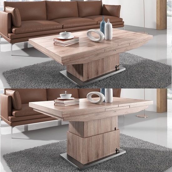 Extendable Coffee Table elgin extendable coffee and dining table in sonoma oak | sitting