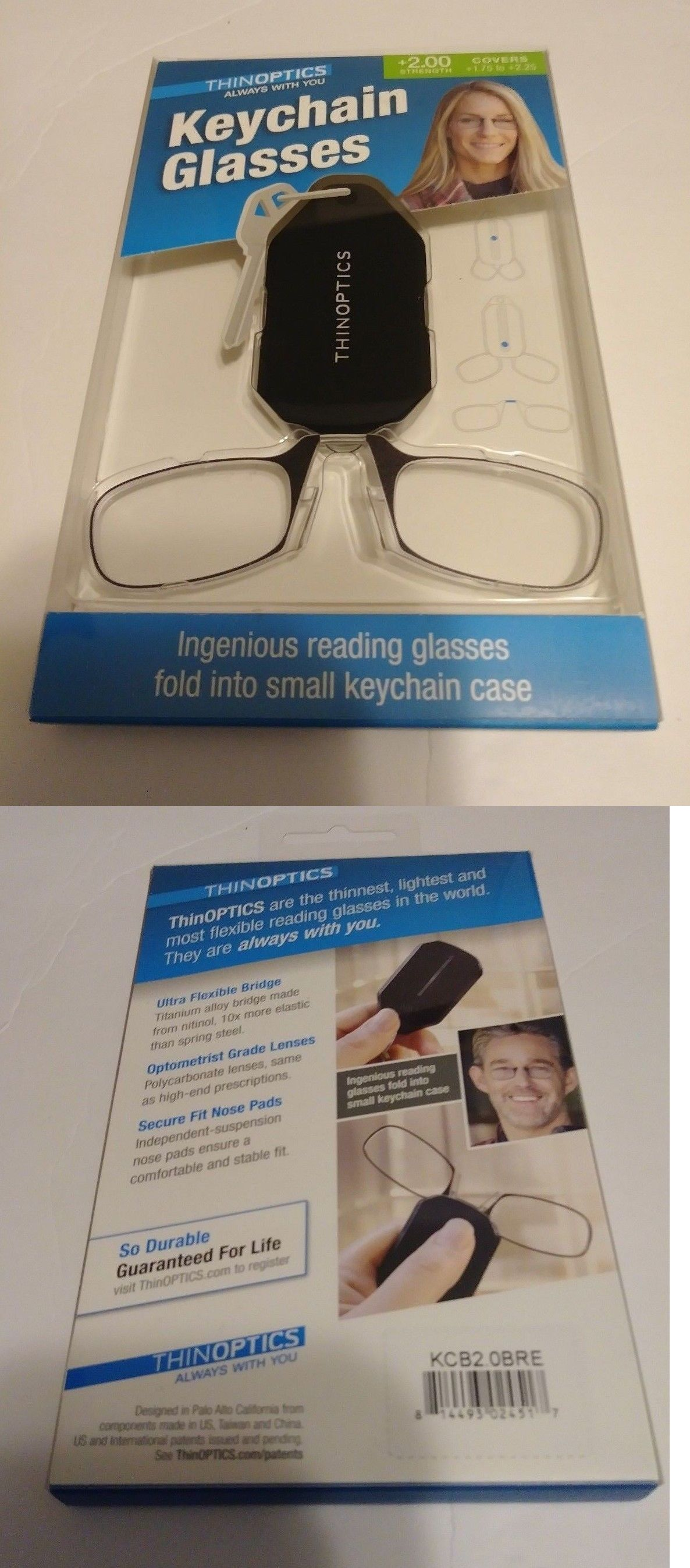 c4574b4c19a Vision Care 31414  Thinoptics Keychain Reading Glasses +2.00 Strength  Glasses And Keychain Case Black