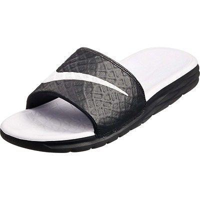 Nike Benassi Solar Soft Slide2 Womens 705475-010 Black White Slide Sandals  Sz 7