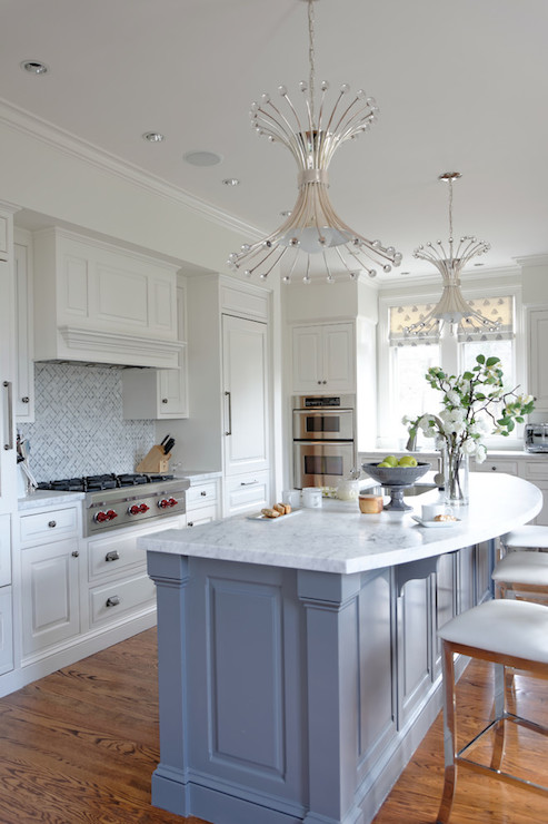 This Beautiful Kitchen Features A Blue Kitchen Island With Curved