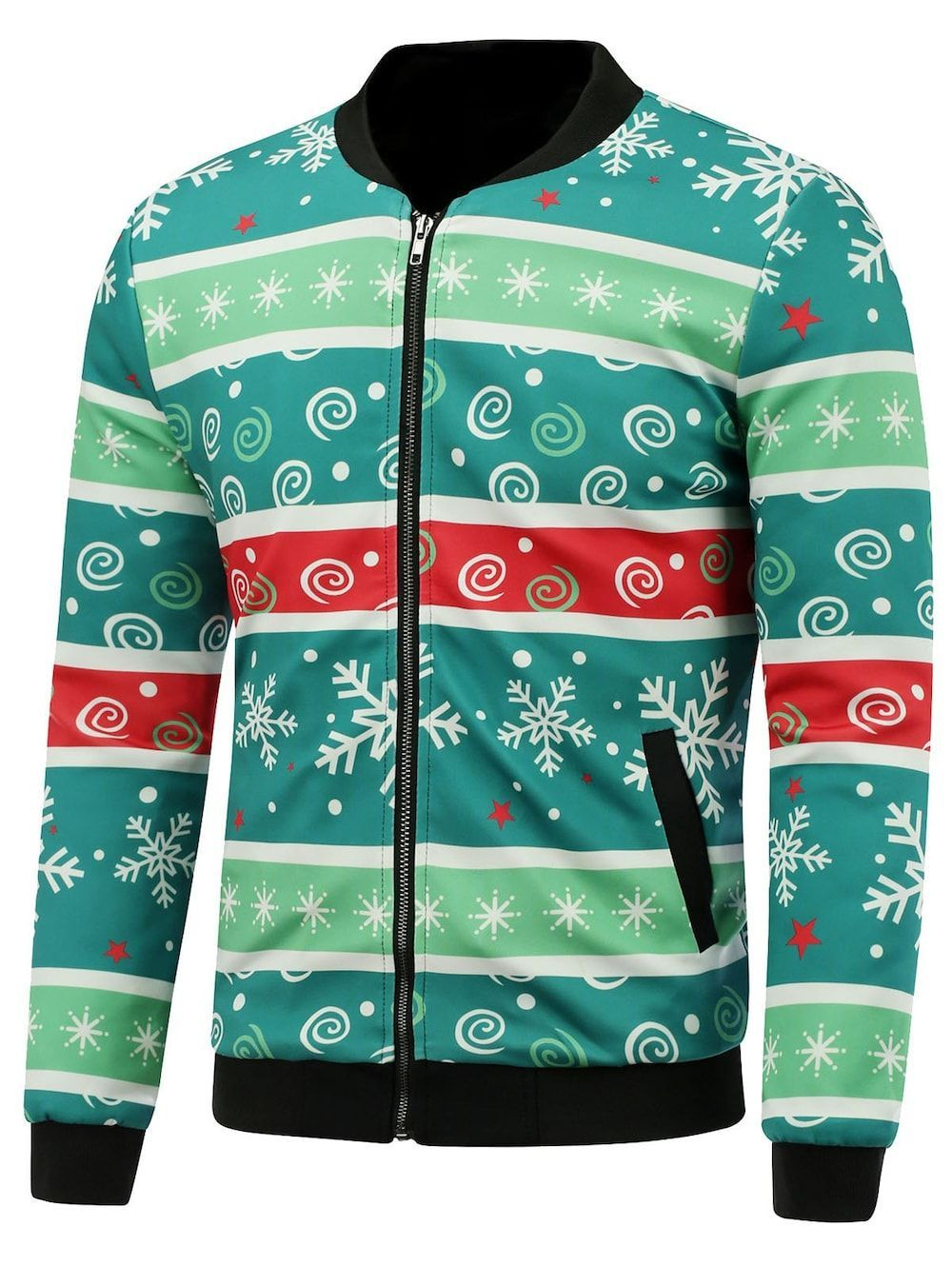 9df8805a47aff Competitive Green M Jackets online, Gamiss offers you Stand Collar 3D  Christmas Stripe and Snowflake Print Padded Jacket at $33.38, we also offer  Wholesale ...