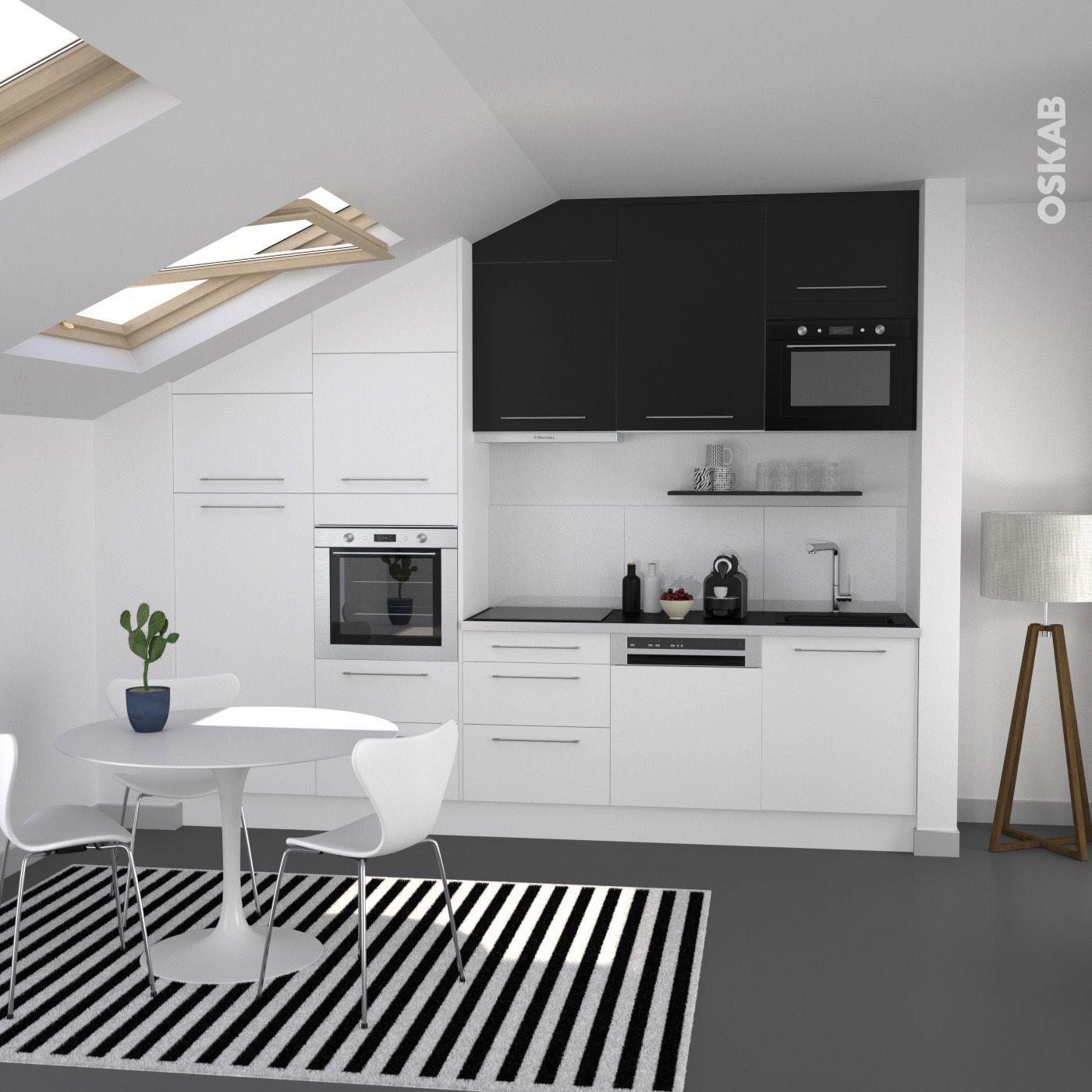 Cuisine bicolore design blanche et noire meuble haut - Cuisine blanche design ...