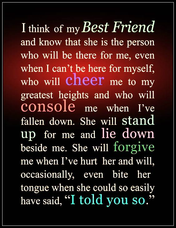 best friend quotes i think of my best friend and know that she