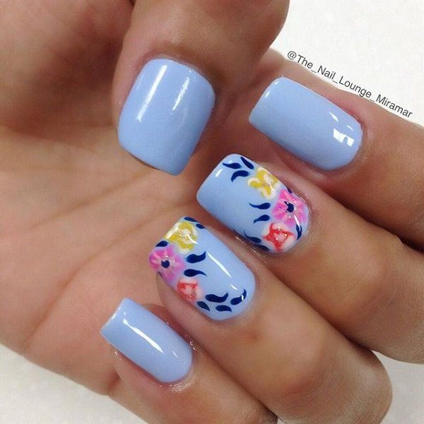 50 blue nail art designs colorful flowers
