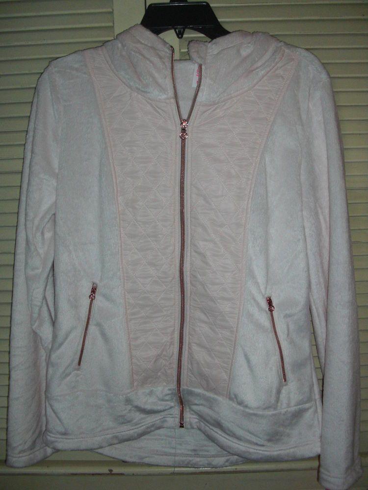 Betsey Johnson Performance Hooded Jacket Blush Pink Size Large MSRP $88 #BetseyJohnson #FleeceJacket