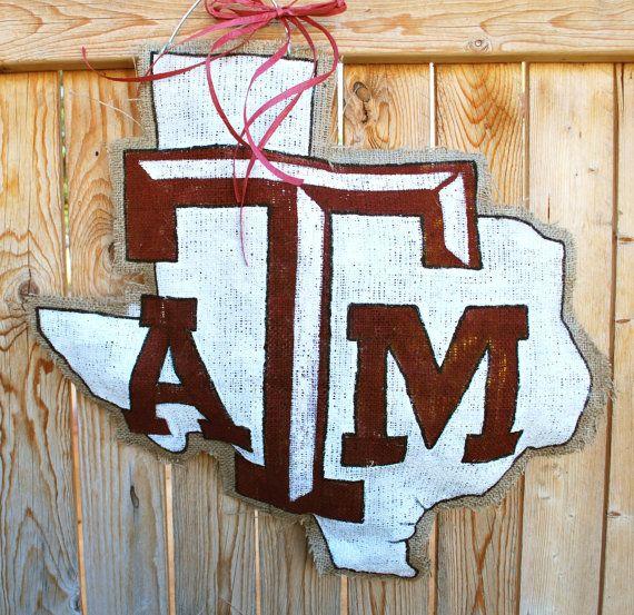 Texas A Amp M Burlap Door Hanger Burlap Designs Burlap