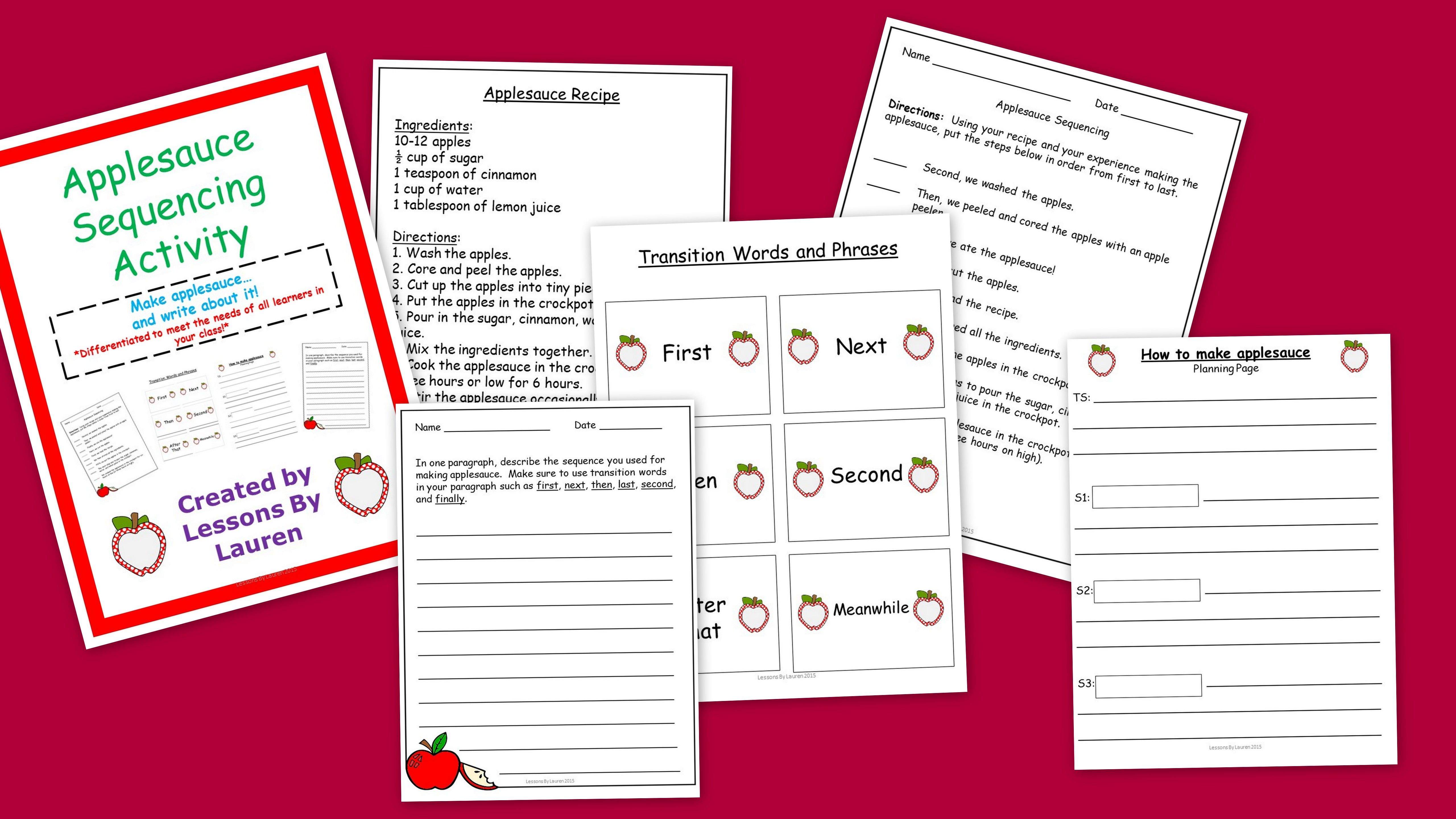 Applesauce Sequencing Activity How To Writing