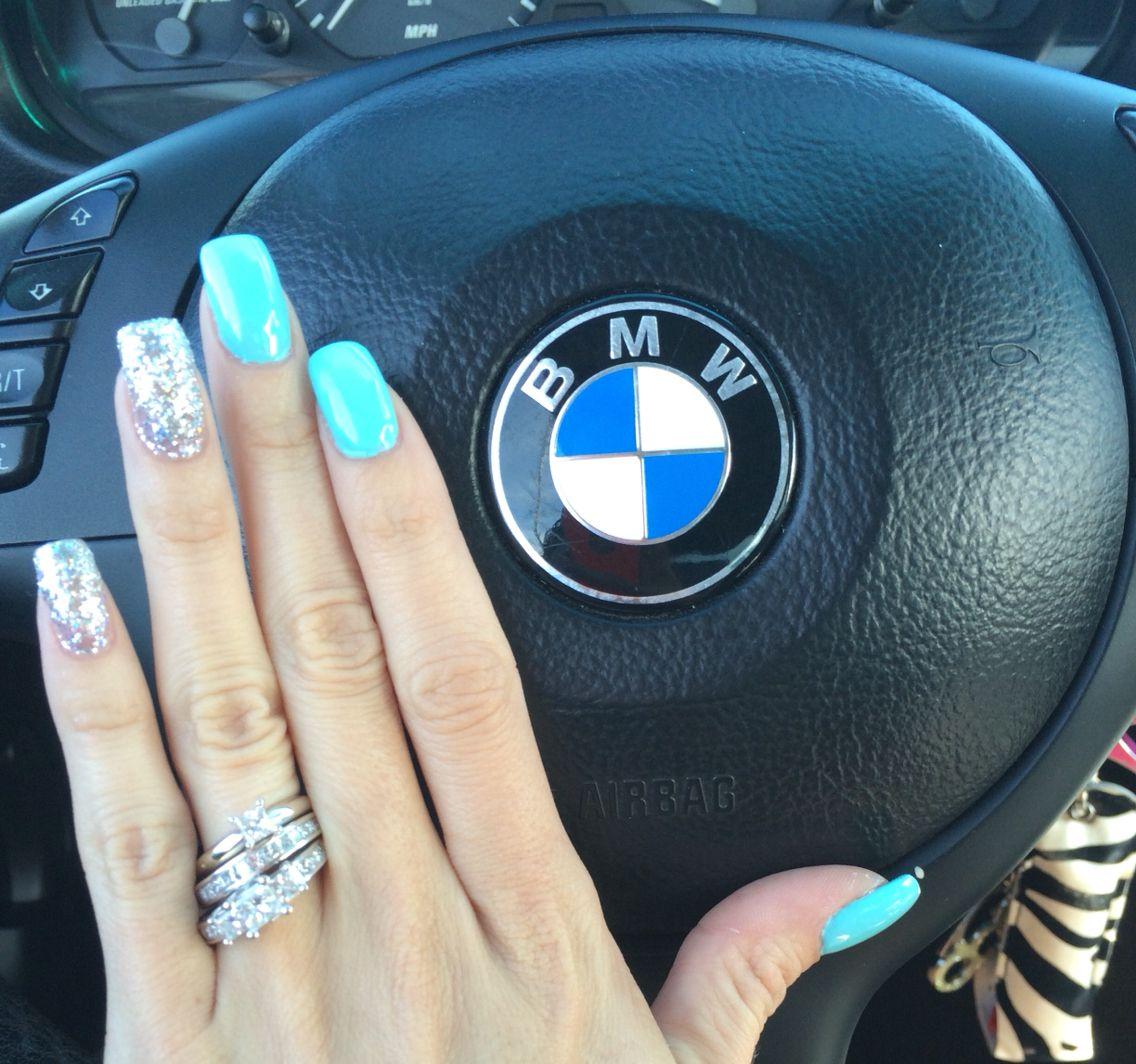 Tiffany Blue and glitter acrylic nails | nails | Pinterest | Tiffany ...