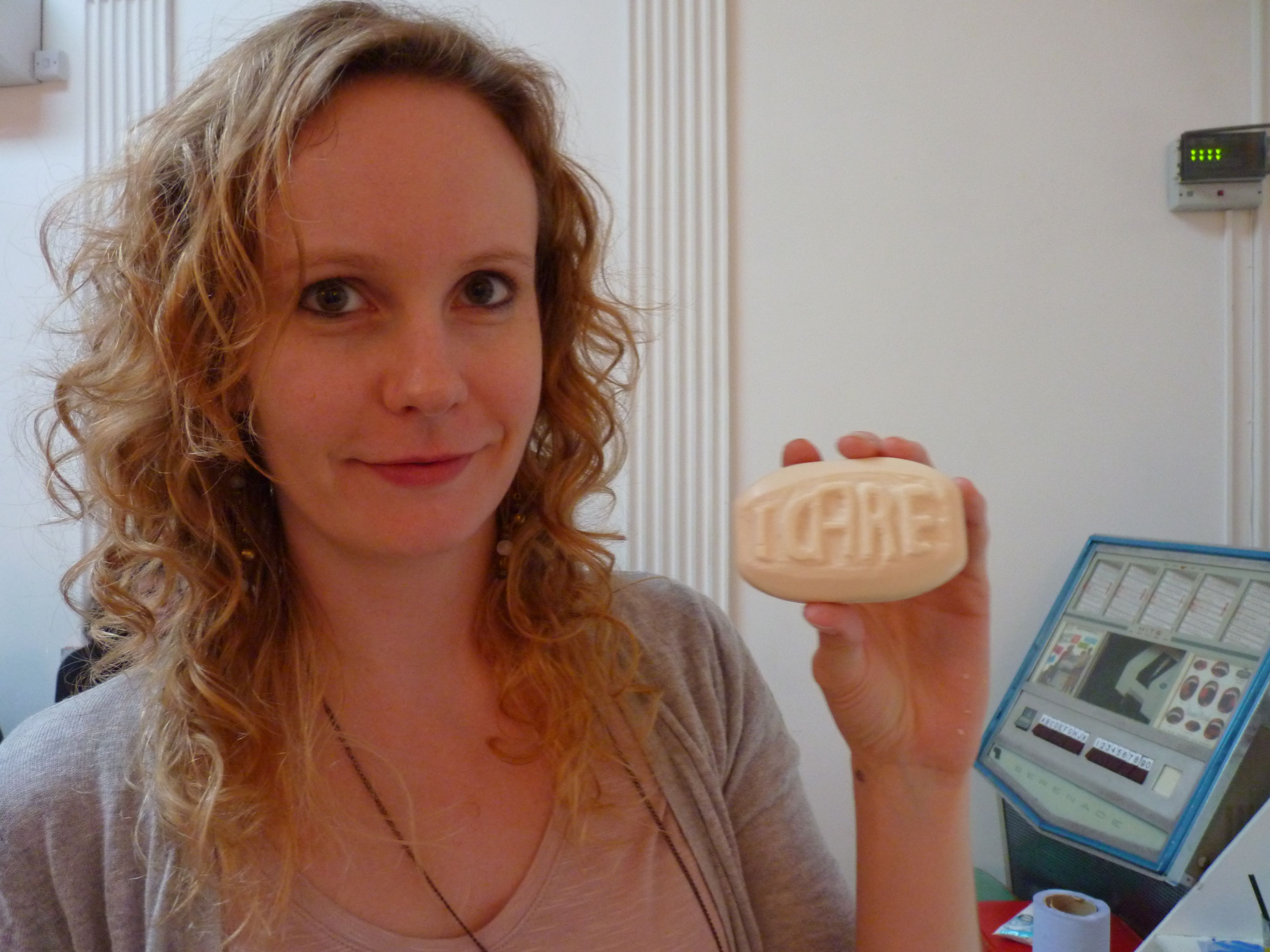 Ashley baldwin with her freshly carved soap britaincrafts