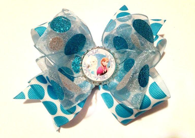 Turquoise Polka Dot Sparkle Frozen Anna and Elsa Bottlecap Bow-Frozen Anna Elsa Snow Queen Disney Hairbow Bottlecap #FROZEN