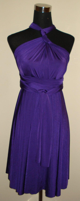 Purple knee length dress conertible infinity dress multiway ...