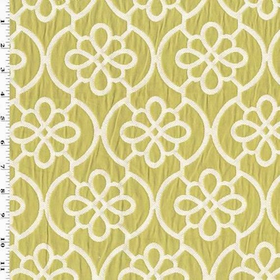 Apple Green/White Ogee Matelasse Home Decorating Fabric ...