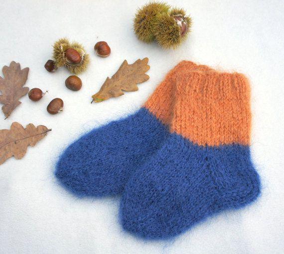 Hand Knitted Baby Socksblue Orange Mohair By Ksyuknitting On Etsy