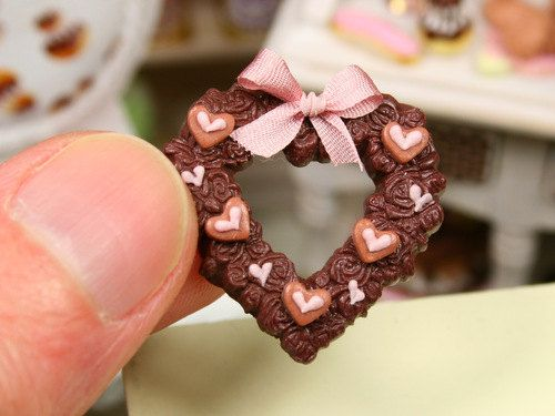Valentine's Chocolate Heart Decoration - French Miniature Food in 12th Scale