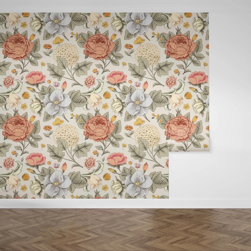 Boho Floral Large Scale Boho Floral Floral Removable Wallpaper