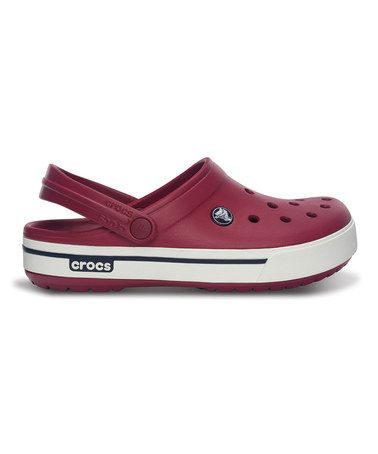 f1408546a84184 Take a look at this Pomegranate   Navy Crocband II.5 Clog - Men   Women by  Crocs on  zulily today!