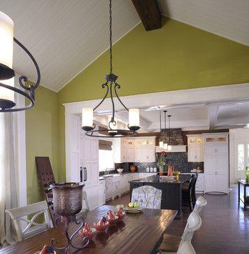 So many things dark floors white cabinets white woodwork dark beam paint etc