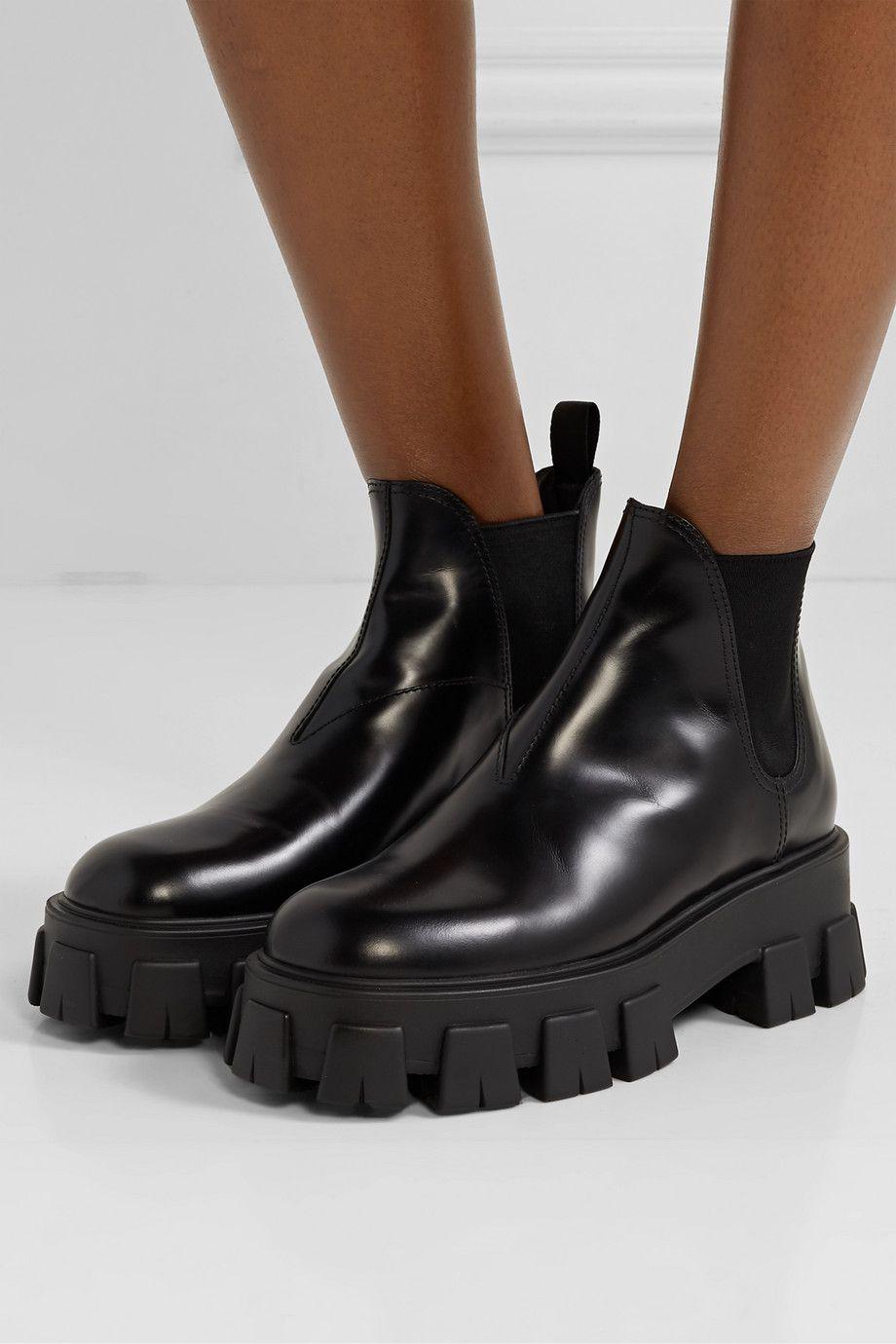 Black Leather Chelsea boots | Prada