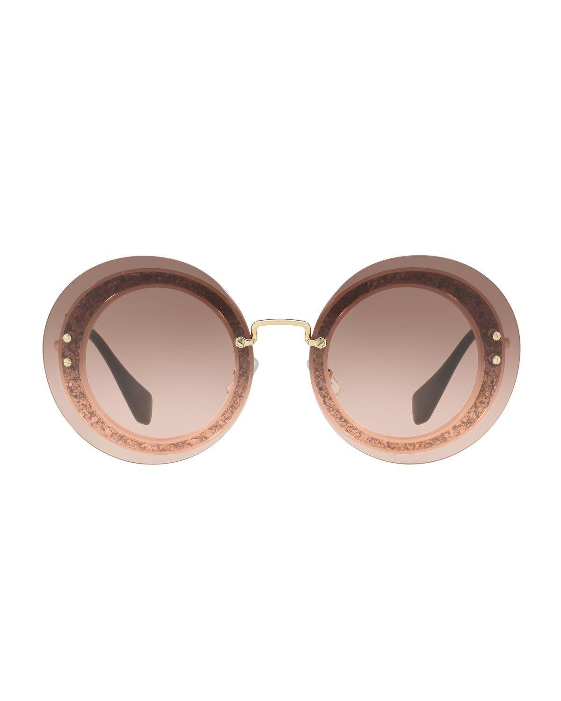 f6d90202461 Miu Miu Round Glitter-Illusion Frame Sunglasses