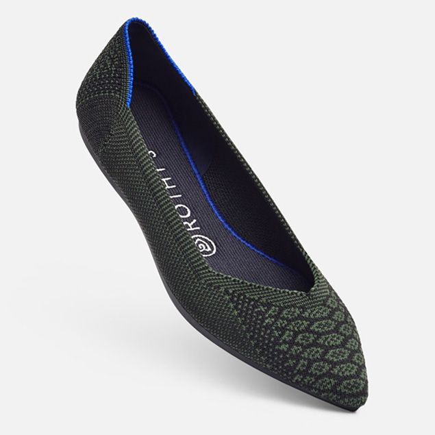 81e5ef2740a Rothy's Flat Dark Green Python | S H O E S | Pointed toe flats ...