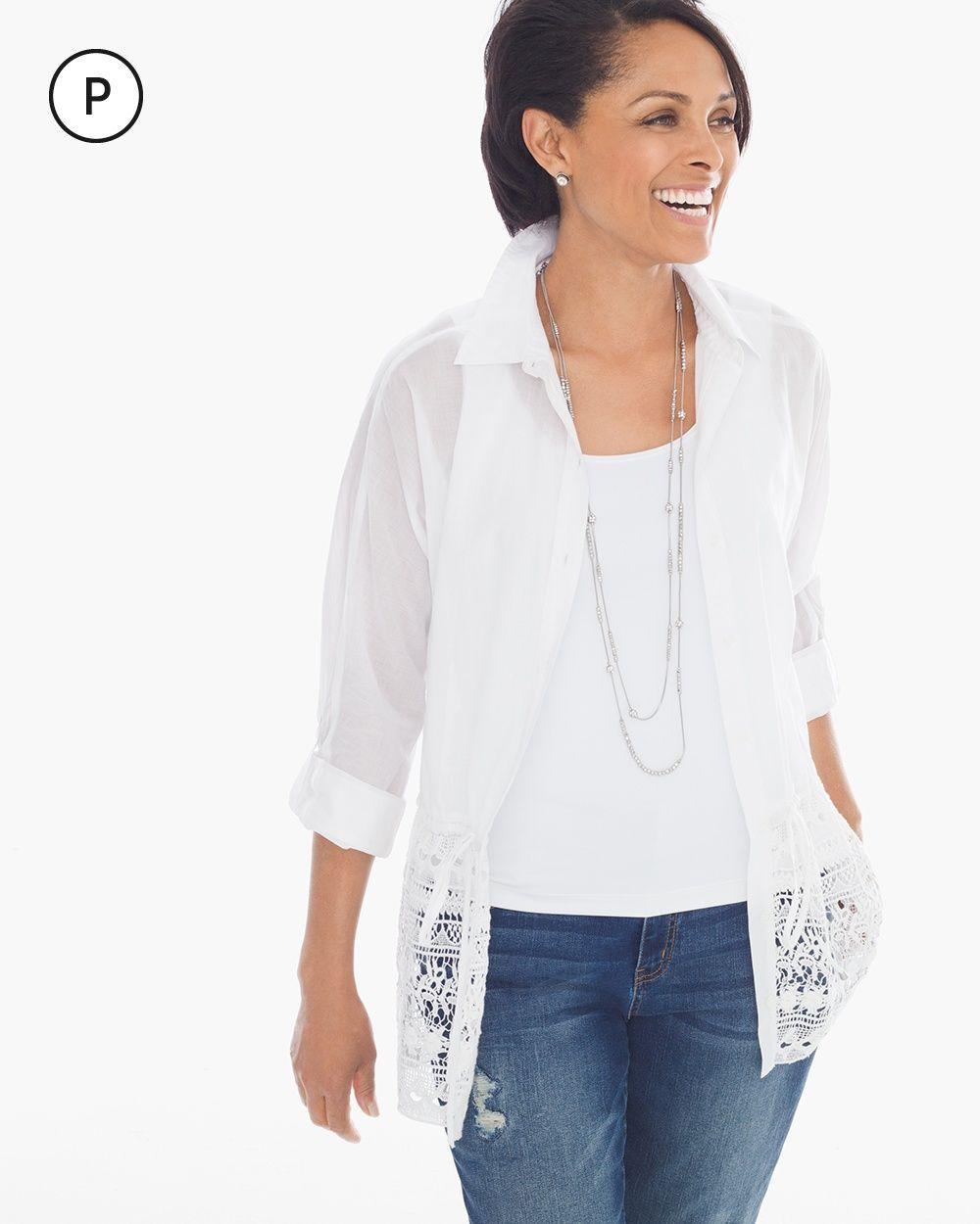 a2657218 Chico's Women's Petite Lace Trim Shirt, Optic White, Size: 3P (16P/18P XL)